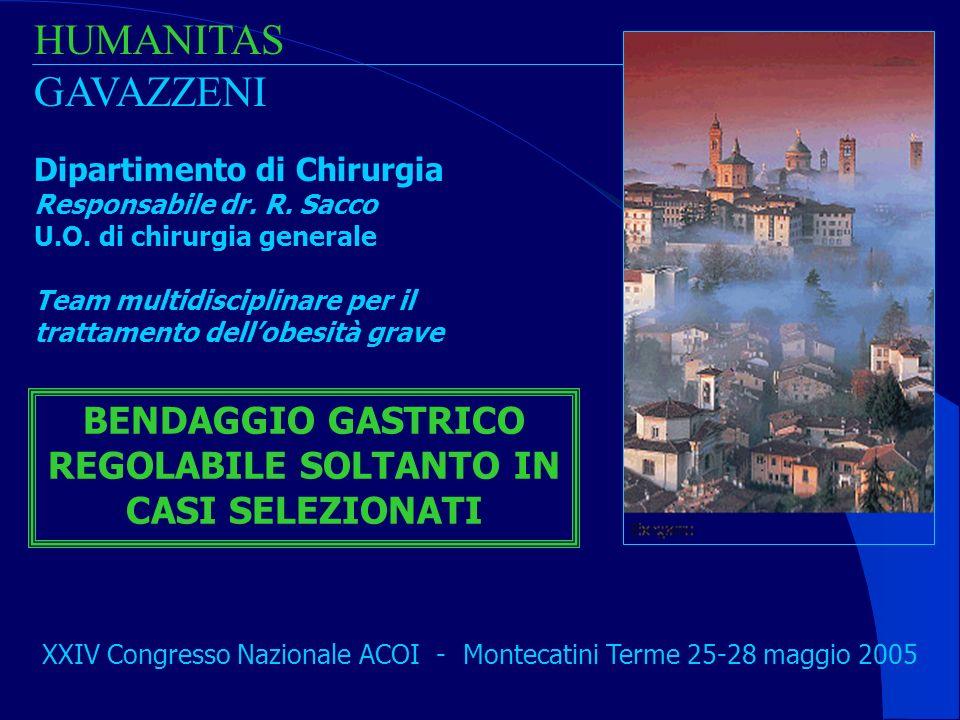 BENDAGGIO GASTRICO REGOLABILE SOLTANTO IN CASI SELEZIONATI
