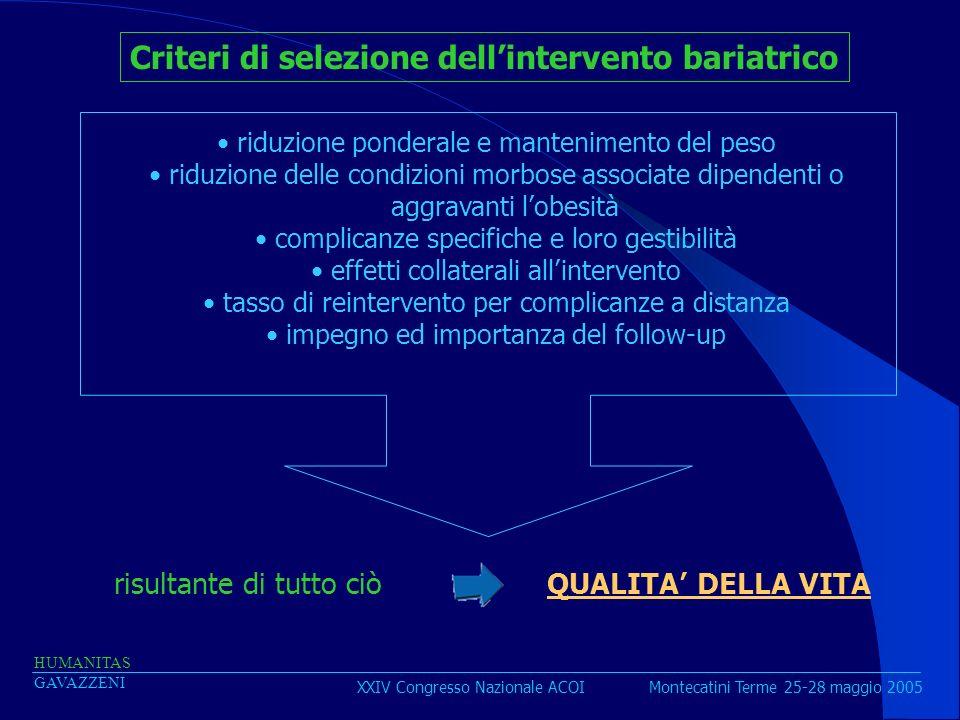 Criteri di selezione dell'intervento bariatrico