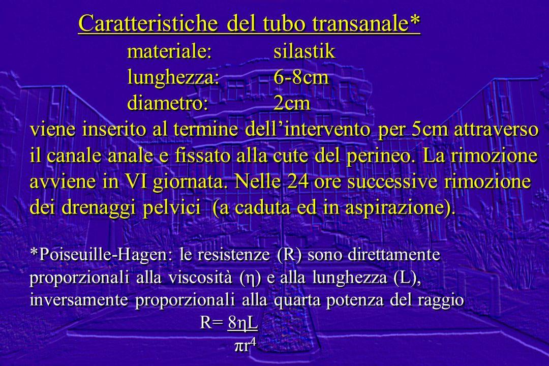 Caratteristiche del tubo transanale*
