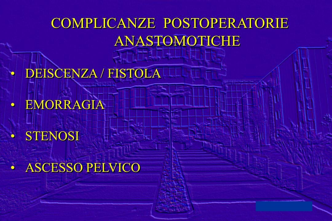 COMPLICANZE POSTOPERATORIE ANASTOMOTICHE