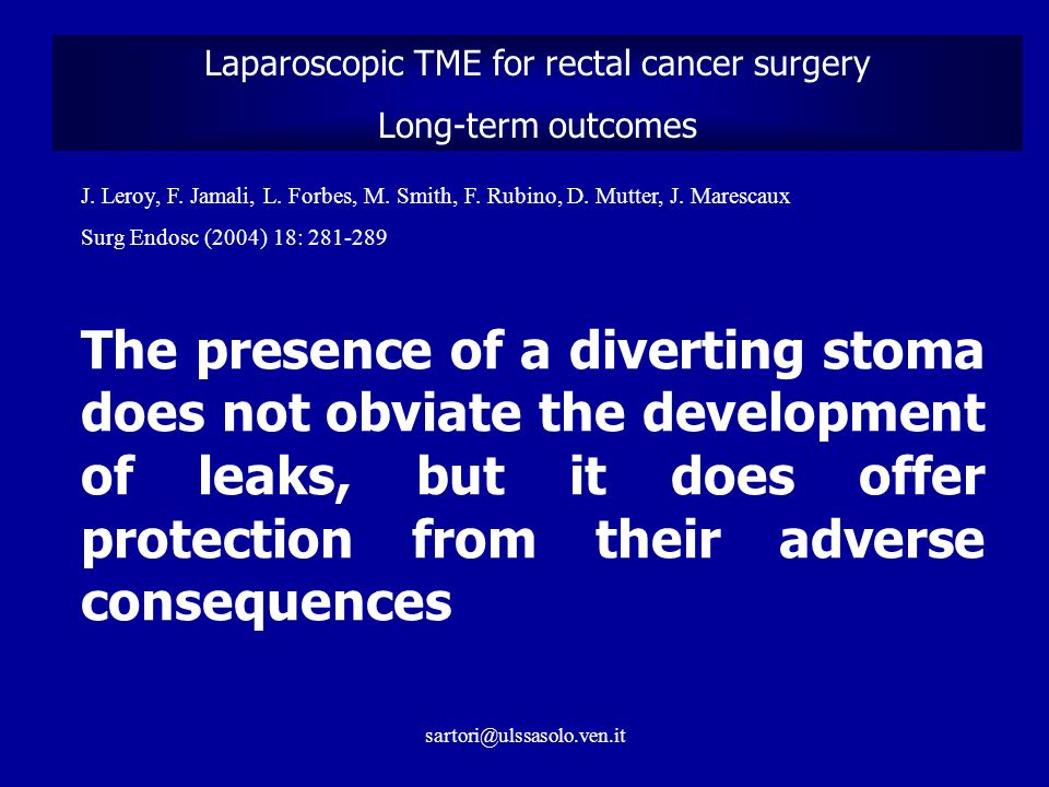 Laparoscopic TME for rectal cancer surgery