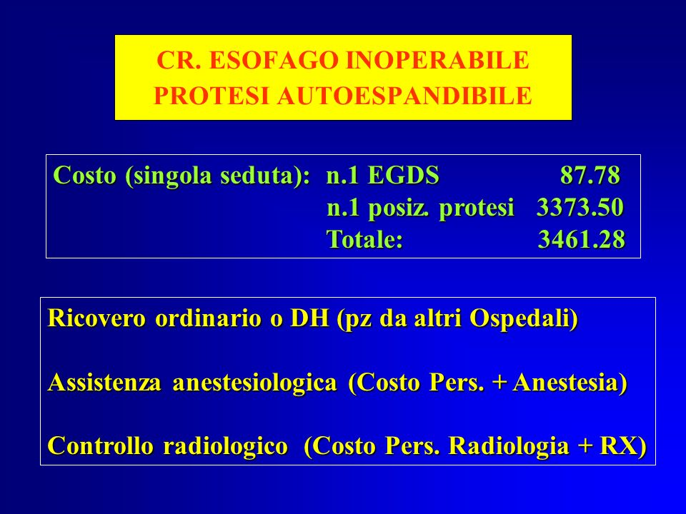 CR. ESOFAGO INOPERABILE PROTESI AUTOESPANDIBILE