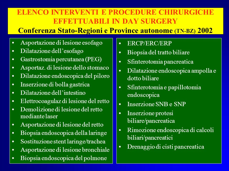 ELENCO INTERVENTI E PROCEDURE CHIRURGICHE EFFETTUABILI IN DAY SURGERY Conferenza Stato-Regioni e Province autonome (TN-BZ) 2002