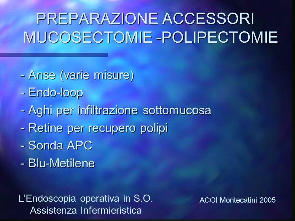 PREPARAZIONE ACCESSORI MUCOSECTOMIE -POLIPECTOMIE