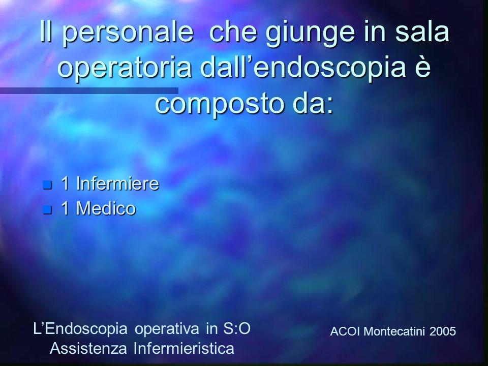Il personale che giunge in sala operatoria dall'endoscopia è composto da: