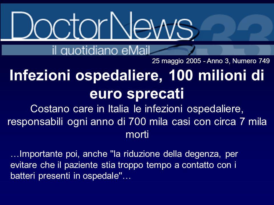Infezioni ospedaliere, 100 milioni di