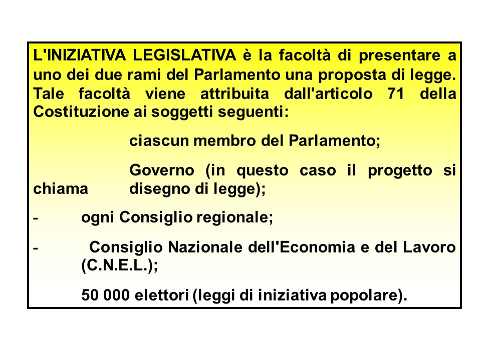 L INIZIATIVA LEGISLATIVA è la facoltà di presentare a uno dei due rami del Parlamento una proposta di legge. Tale facoltà viene attribuita dall articolo 71 della Costituzione ai soggetti seguenti:
