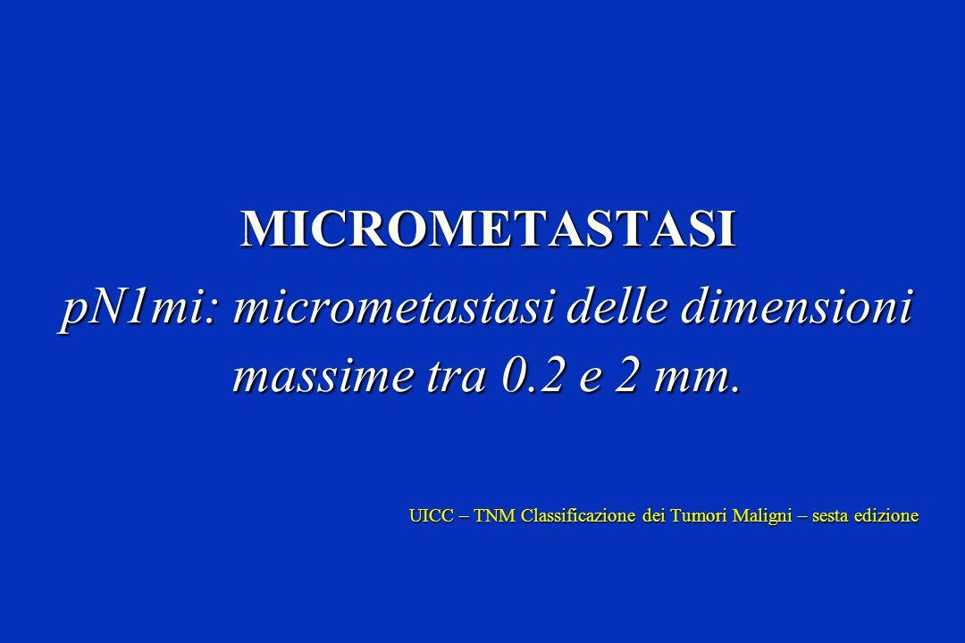 pN1mi: micrometastasi delle dimensioni massime tra 0.2 e 2 mm.