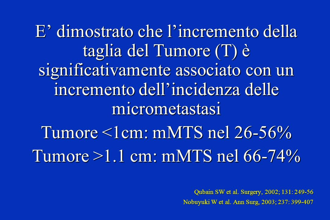 Tumore <1cm: mMTS nel 26-56% Tumore >1.1 cm: mMTS nel 66-74%