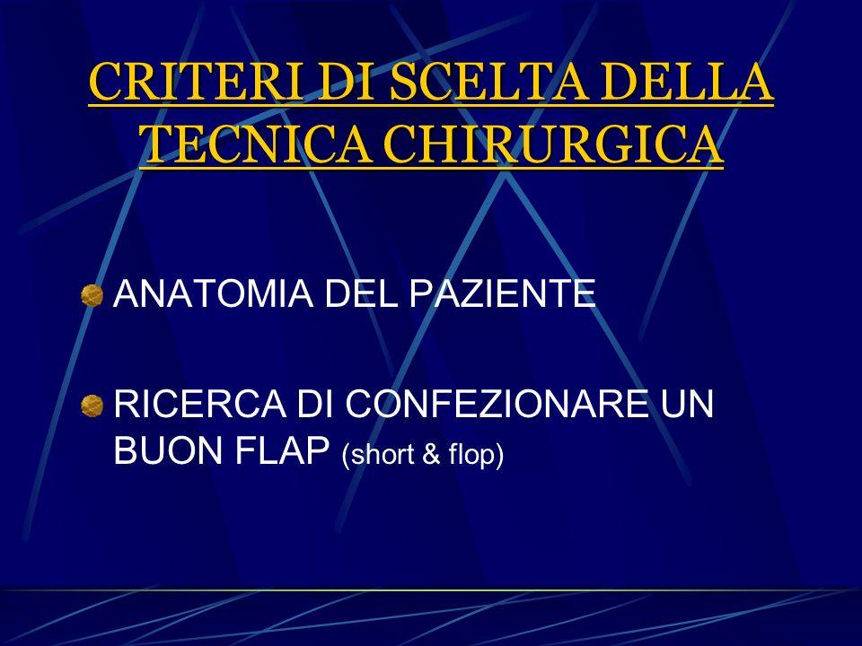CRITERI DI SCELTA DELLA TECNICA CHIRURGICA