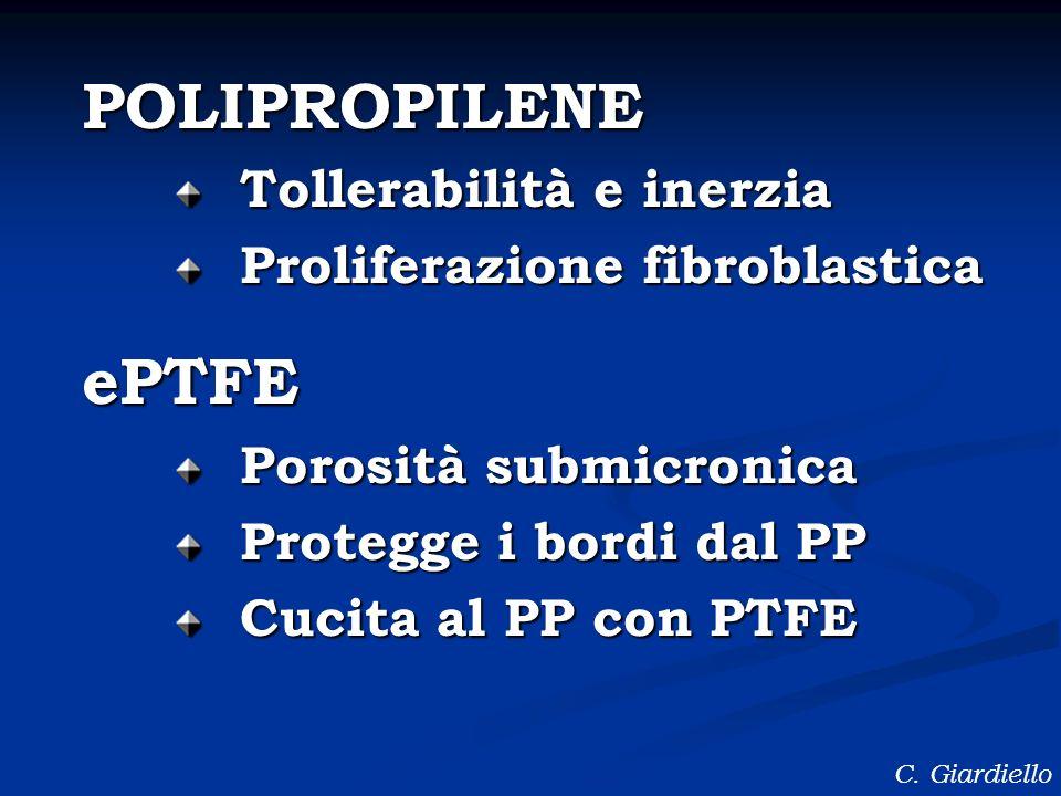 POLIPROPILENE ePTFE Tollerabilità e inerzia