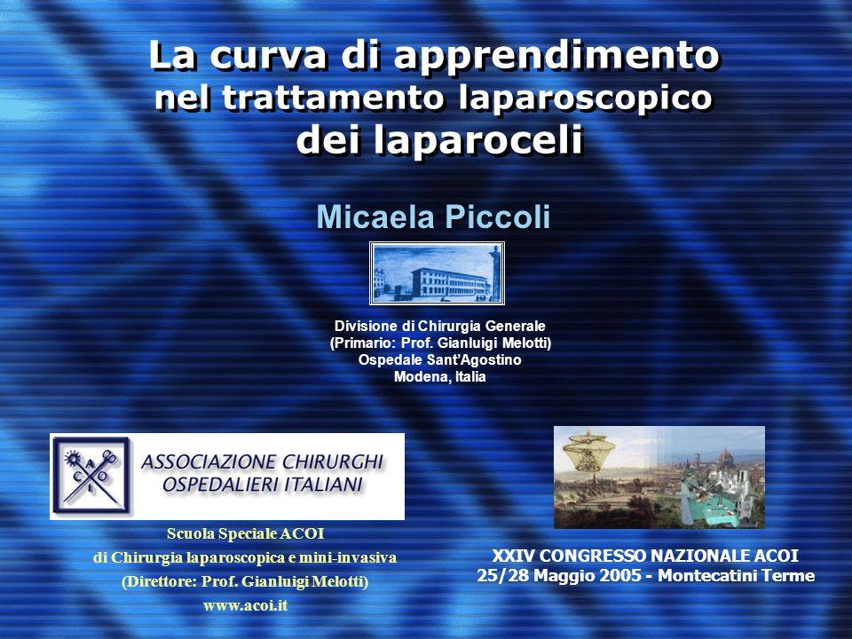 La curva di apprendimento nel trattamento laparoscopico dei laparoceli