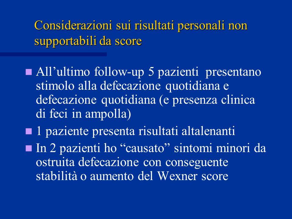 Considerazioni sui risultati personali non supportabili da score