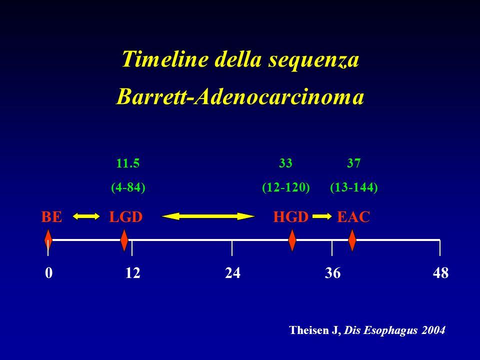 Timeline della sequenza Barrett-Adenocarcinoma
