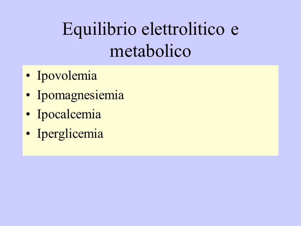 Equilibrio elettrolitico e metabolico