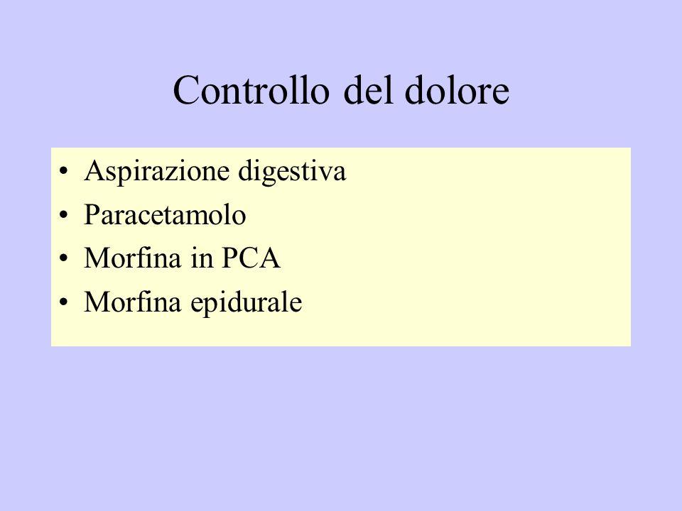 Controllo del dolore Aspirazione digestiva Paracetamolo Morfina in PCA