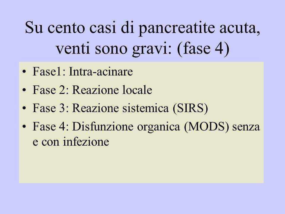 Su cento casi di pancreatite acuta, venti sono gravi: (fase 4)