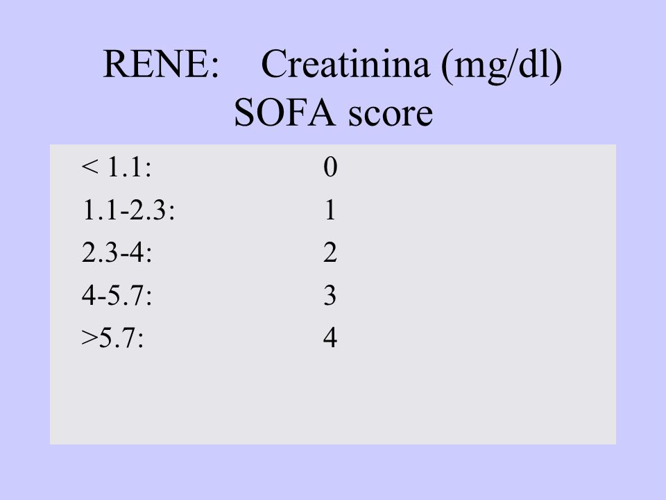RENE: Creatinina (mg/dl) SOFA score