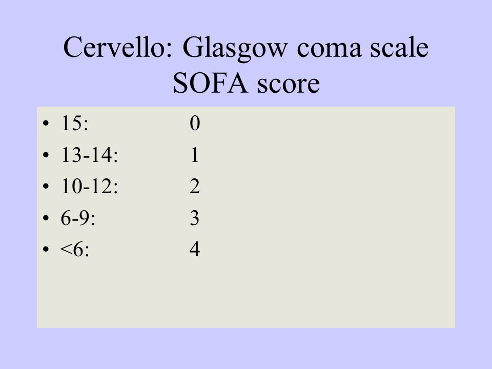 Cervello: Glasgow coma scale SOFA score
