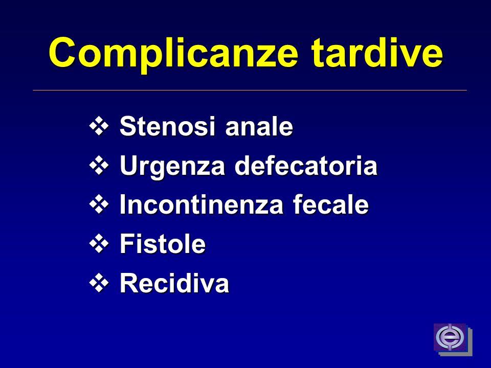 Complicanze tardive Stenosi anale Urgenza defecatoria