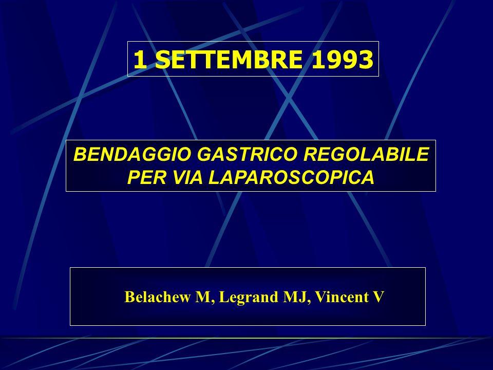 1 SETTEMBRE 1993 BENDAGGIO GASTRICO REGOLABILE PER VIA LAPAROSCOPICA