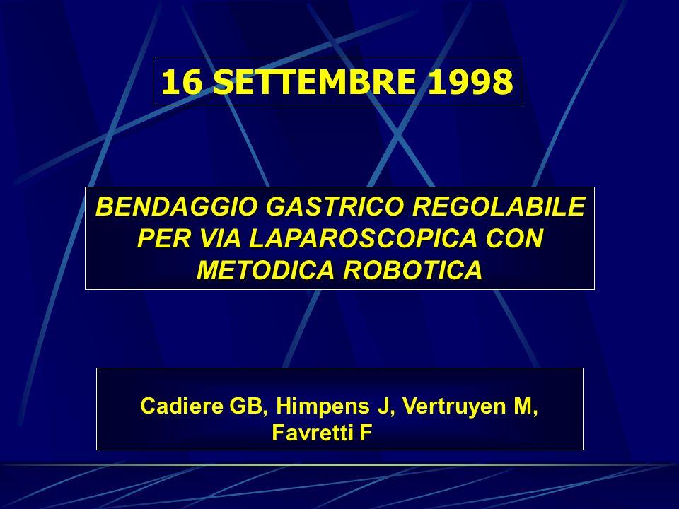 BENDAGGIO GASTRICO REGOLABILE PER VIA LAPAROSCOPICA CON