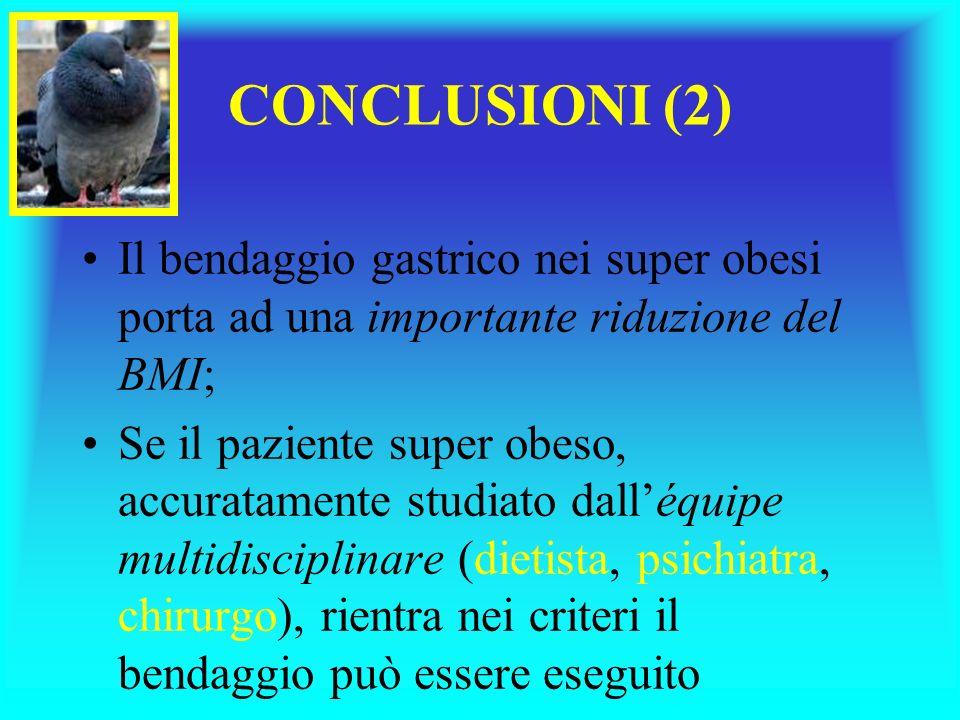 CONCLUSIONI (2) Il bendaggio gastrico nei super obesi porta ad una importante riduzione del BMI;