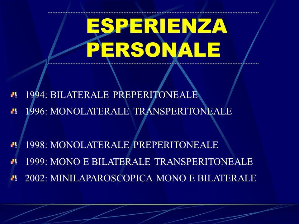 ESPERIENZA PERSONALE 1994: BILATERALE PREPERITONEALE