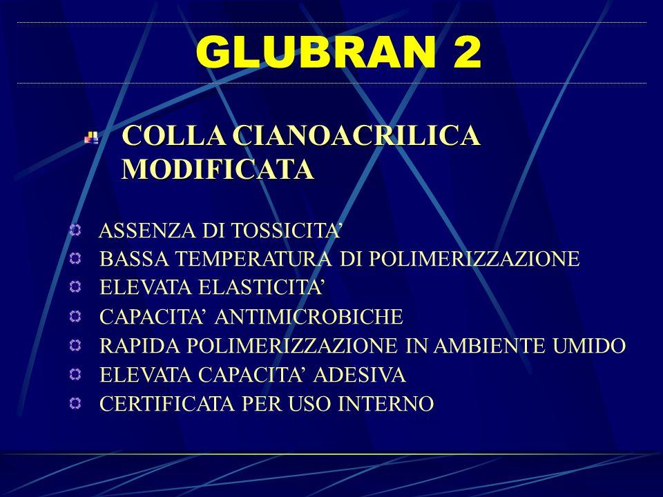GLUBRAN 2 MODIFICATA COLLA CIANOACRILICA ASSENZA DI TOSSICITA'