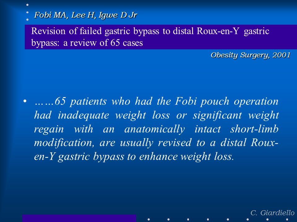 Fobi MA, Lee H, Igwe D JrRevision of failed gastric bypass to distal Roux-en-Y gastric bypass: a review of 65 cases.