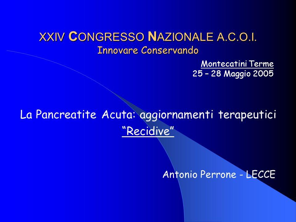 XXIV CONGRESSO NAZIONALE A.C.O.I. Innovare Conservando