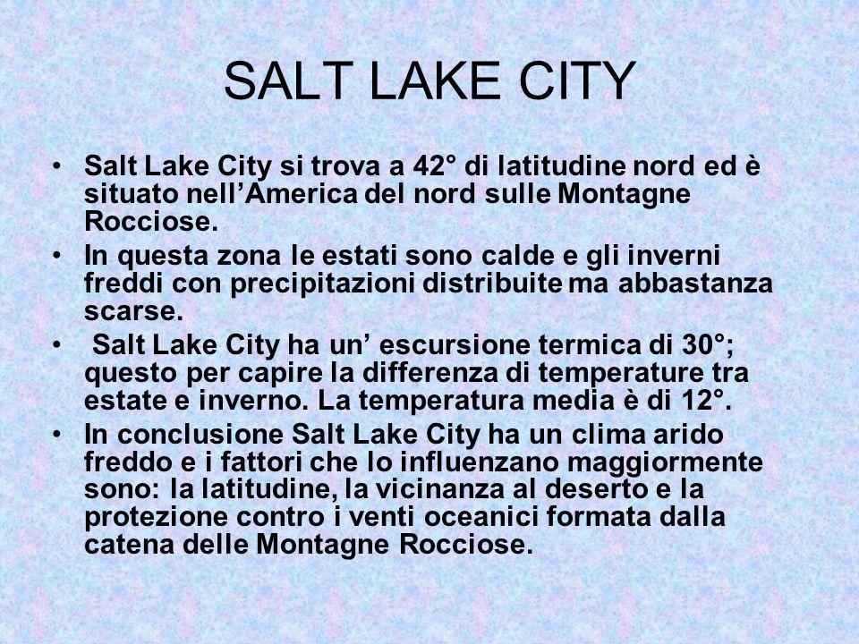 SALT LAKE CITY Salt Lake City si trova a 42° di latitudine nord ed è situato nell'America del nord sulle Montagne Rocciose.