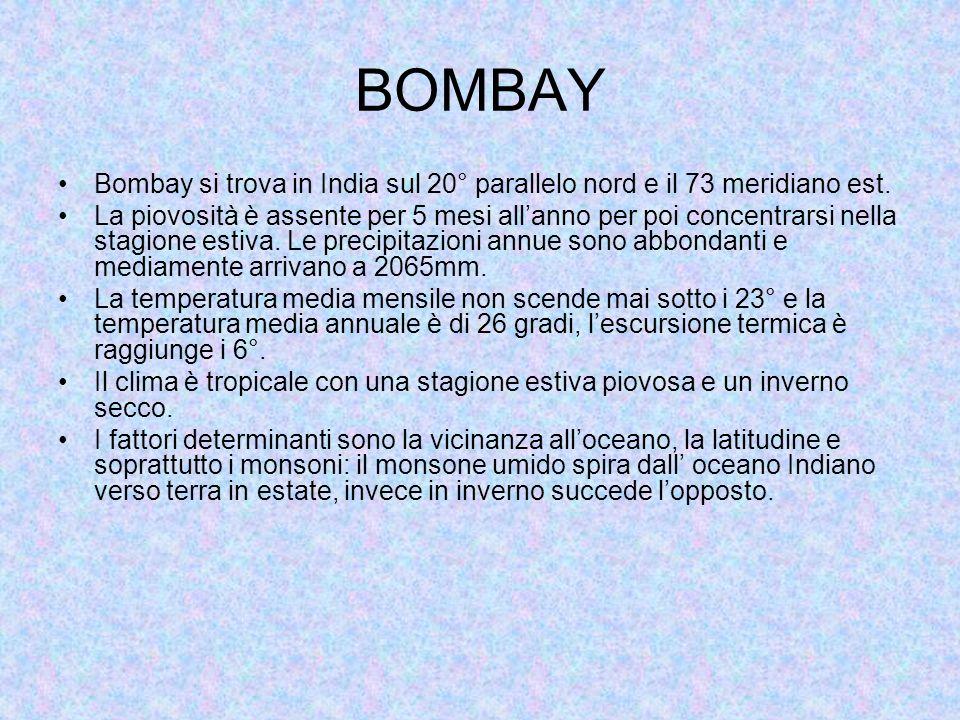 BOMBAY Bombay si trova in India sul 20° parallelo nord e il 73 meridiano est.