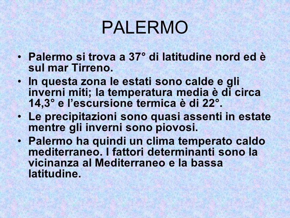 PALERMO Palermo si trova a 37° di latitudine nord ed è sul mar Tirreno.