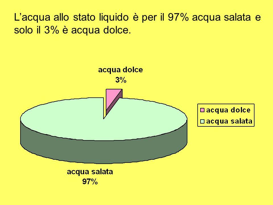 L'acqua allo stato liquido è per il 97% acqua salata e solo il 3% è acqua dolce.