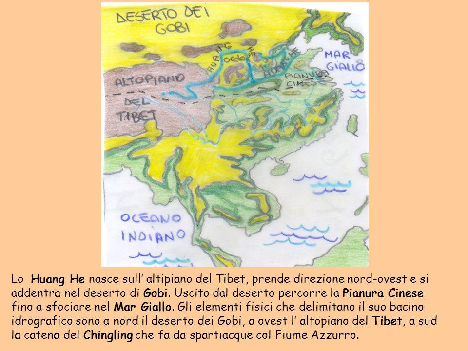 Lo Huang He nasce sull' altipiano del Tibet, prende direzione nord-ovest e si addentra nel deserto di Gobi.
