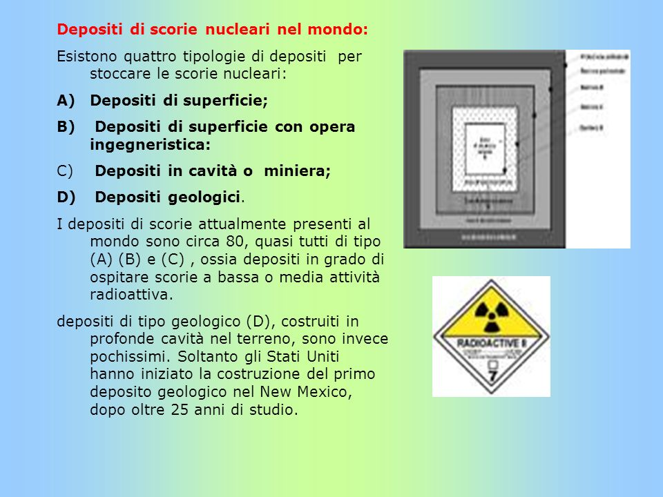 Depositi di scorie nucleari nel mondo: