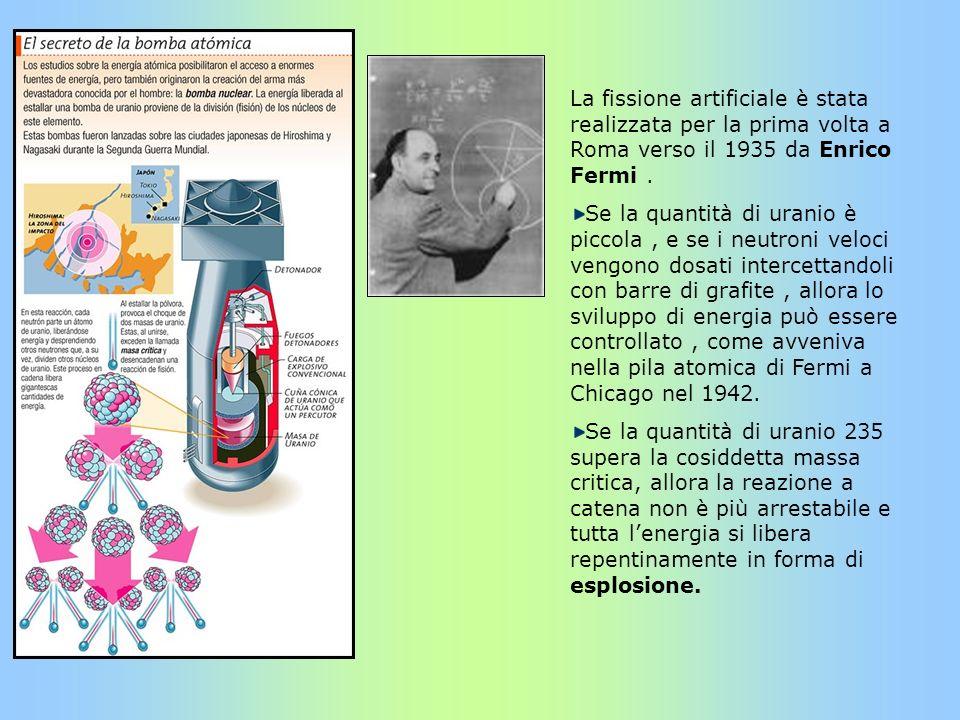 La fissione artificiale è stata realizzata per la prima volta a Roma verso il 1935 da Enrico Fermi .