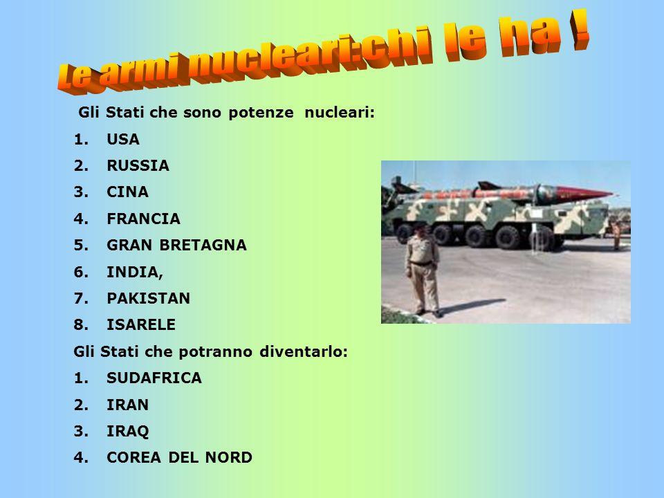 Le armi nucleari:chi le ha !