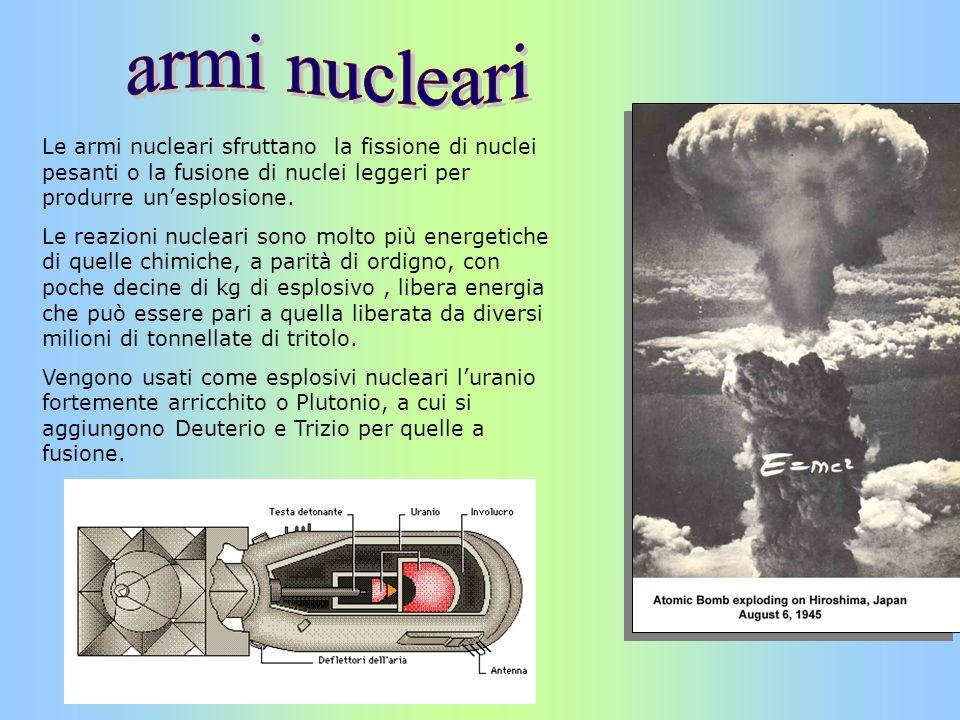 armi nucleari Le armi nucleari sfruttano la fissione di nuclei pesanti o la fusione di nuclei leggeri per produrre un'esplosione.