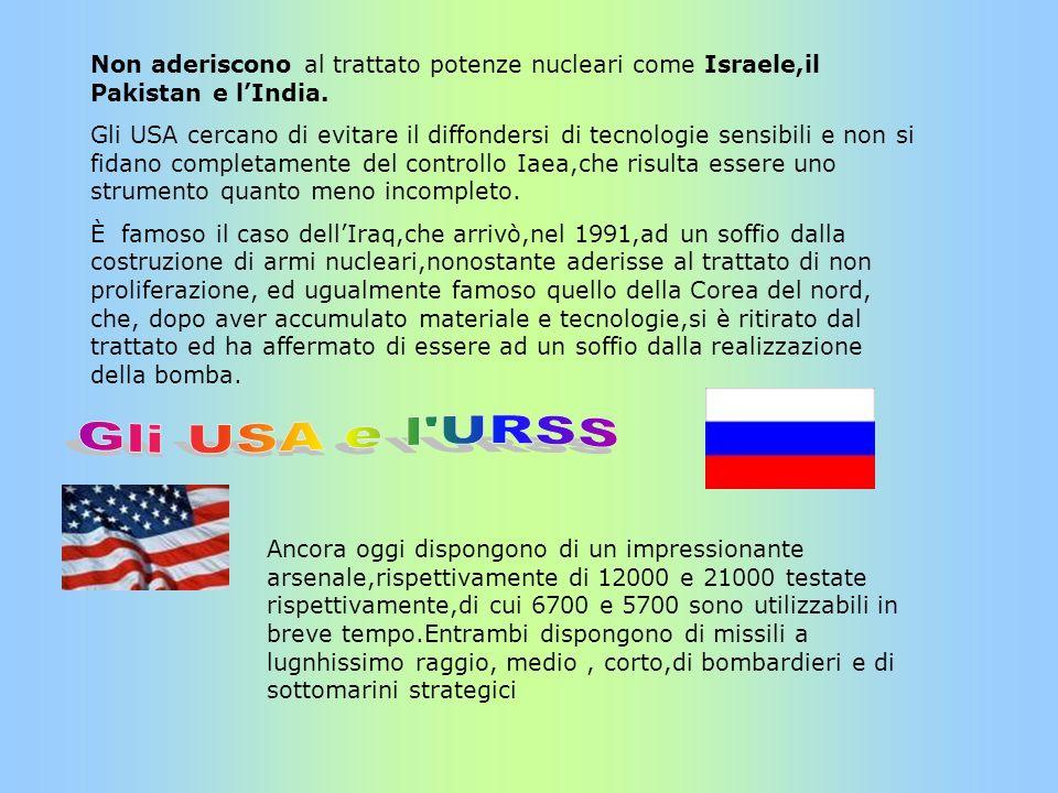 Non aderiscono al trattato potenze nucleari come Israele,il Pakistan e l'India.