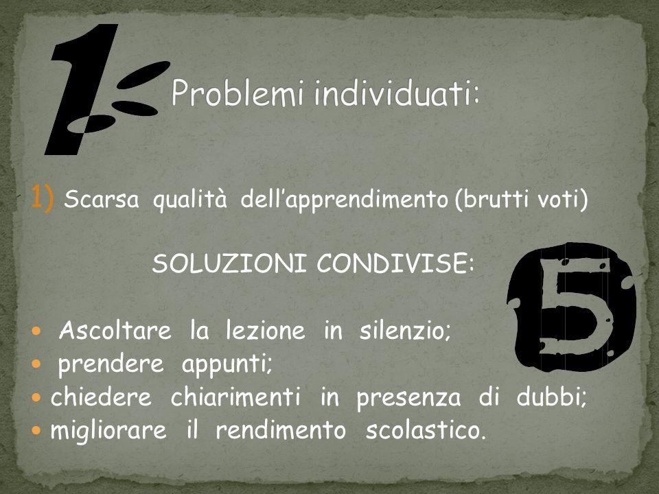 Problemi individuati: