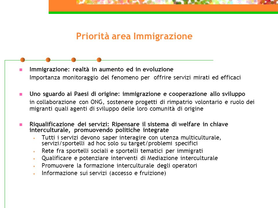 Priorità area Immigrazione