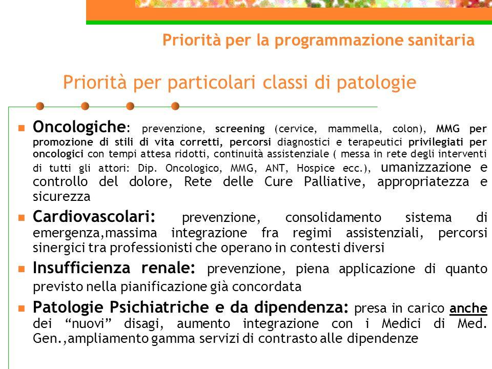 Priorità per particolari classi di patologie