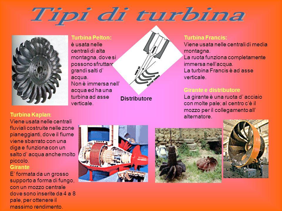 Tipi di turbina Turbina Pelton: