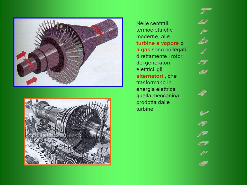 Nelle centrali termoelettriche moderne, alle turbine a vapore o a gas sono collegati direttamente i rotori dei generatori elettrici, gli alternatori , che trasformano in energia elettrica quella meccanica, prodotta dalle turbine.