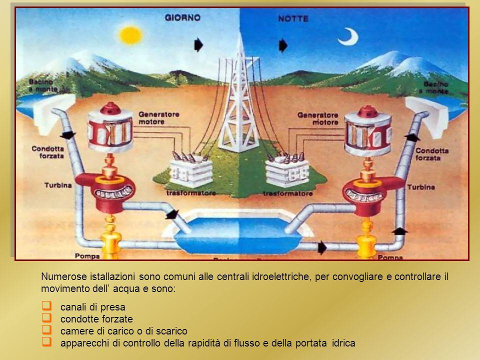 Numerose istallazioni sono comuni alle centrali idroelettriche, per convogliare e controllare il movimento dell' acqua e sono: