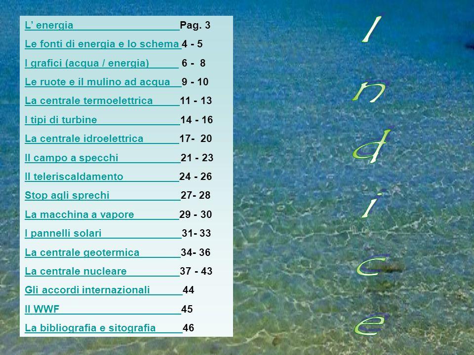 Indice L' energia Pag. 3 Le fonti di energia e lo schema 4 - 5