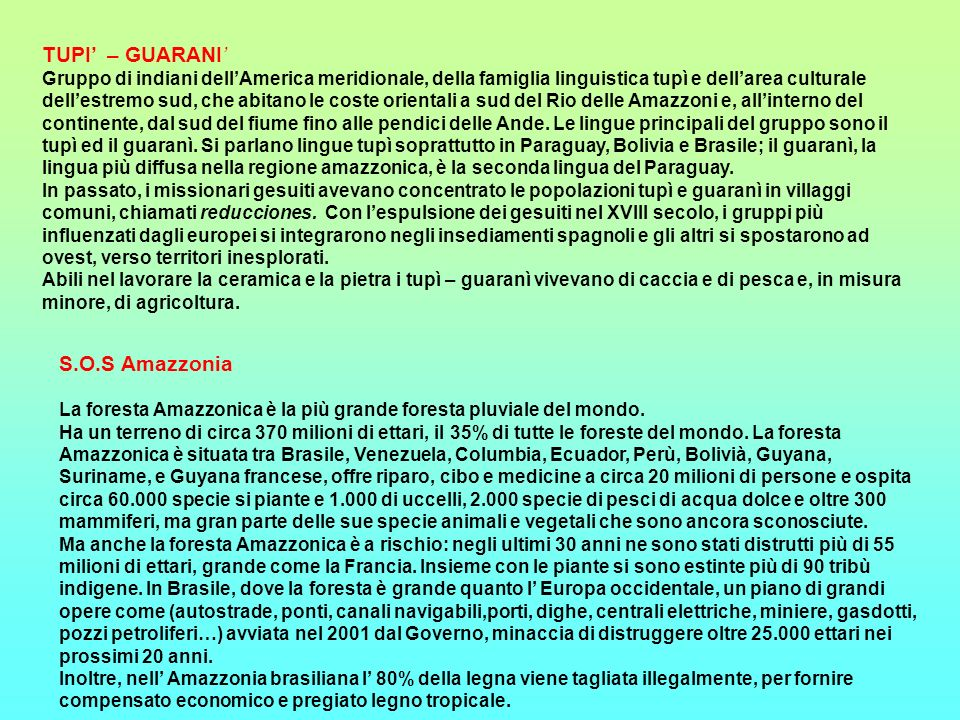 TUPI' – GUARANI' S.O.S Amazzonia