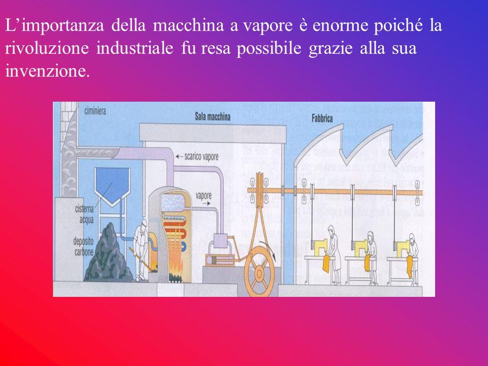 L'importanza della macchina a vapore è enorme poiché la rivoluzione industriale fu resa possibile grazie alla sua invenzione.
